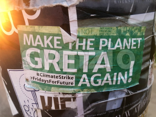 Sticker promoting the Fridays For Future student strikes around Great Thunberg Stock Photo