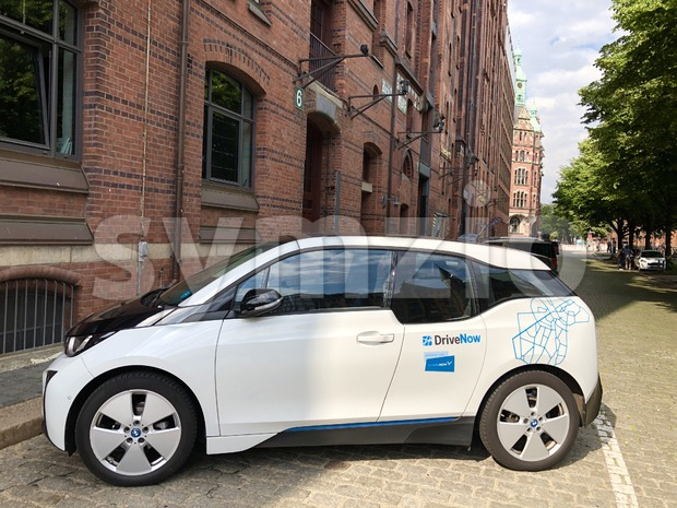 BMW i3 electric car of car sharing company DriveNow Stock Photo