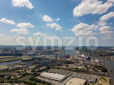 Aerial drone photo of the harbor of Hamburg Stock Photo