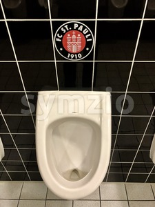 FC St. Pauli logo in a stadium restroom Stock Photo