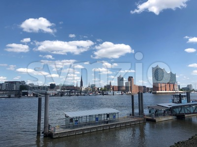 Hamburg - Elbe Philharmonic Hall (Elbphilharmonie) with the neighboring storehouse district Speicherstadt Stock Photo