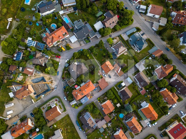 Aerial view of traditional village in Germany. Looking straight down with a satellite image style, the houses look like a ...