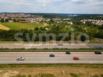 Aerial view of a German Autobahn Stock Photo