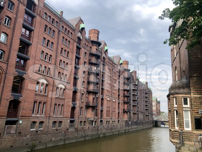 Old warehouse district (Speicherstadt) in Hamburg Stock Photo