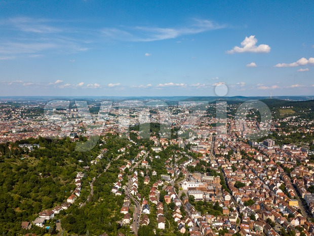 Aerial view of the city of Stuttgart Stock Photo