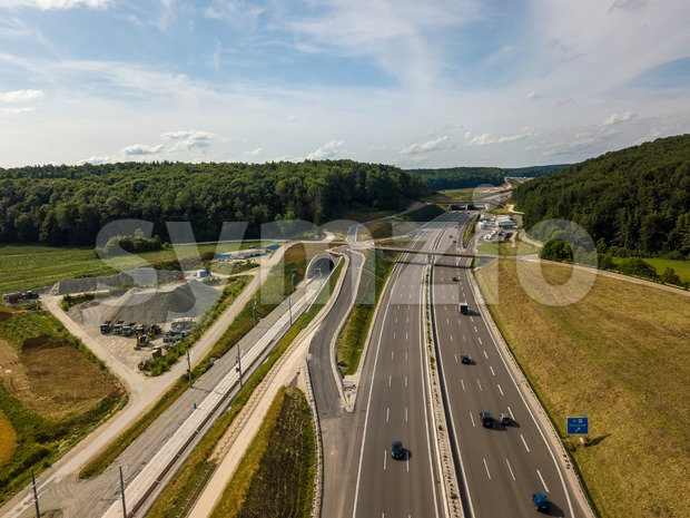Aerial view of Highway A8 on the swabian alp Stock Photo