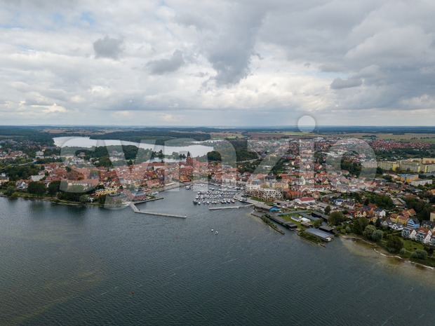Aerial view on the town of Waren at Lake Mueritz Stock Photo