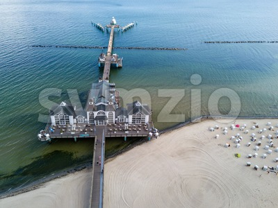 Aerial view on the famous Sellin Seebruecke Stock Photo