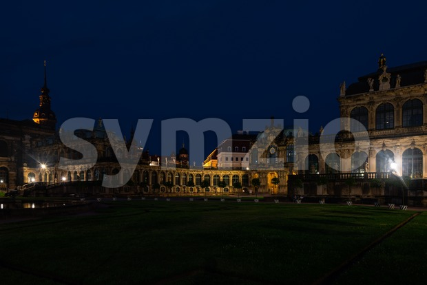 The beautiful Zwinger Palace in Dresden, Germany at night