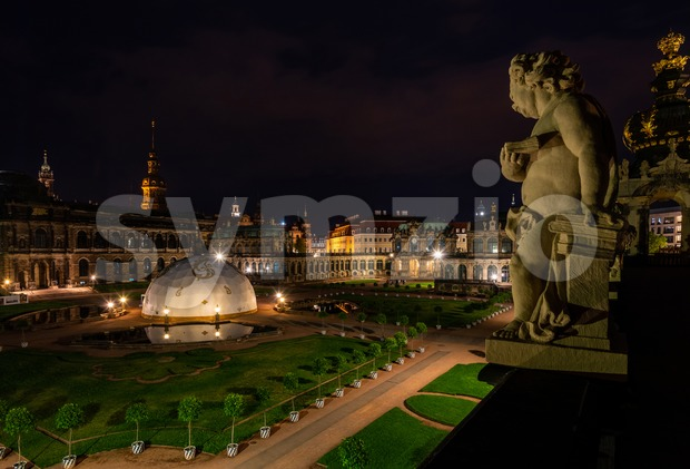 Zwinger Palace in Dresden, Germany at night Stock Photo