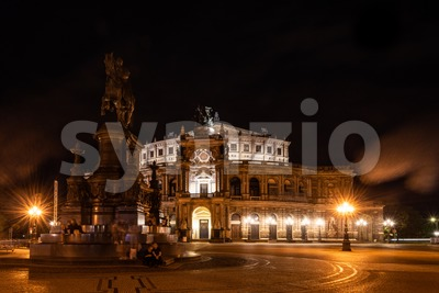 Night view on the famous Semper Opera in Dresden Stock Photo