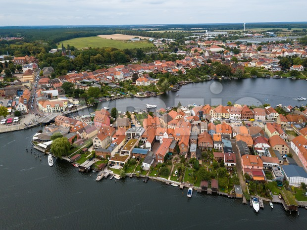Aerial panoramic view of the beautiful town of Malchow in the Mecklenburg Lake District, Germany