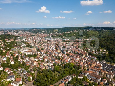 Aerial view of the southern parts of Stuttgart Stock Photo