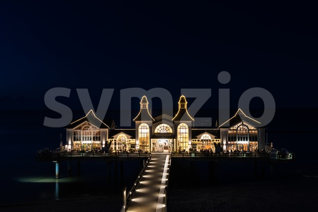 The famous Sellin Seebruecke after sundown Stock Photo