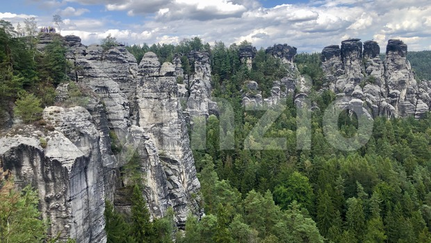 Panorama view on the Bastei rocks Stock Photo