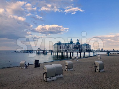 The famous Sellin Seebruecke at sunset Stock Photo