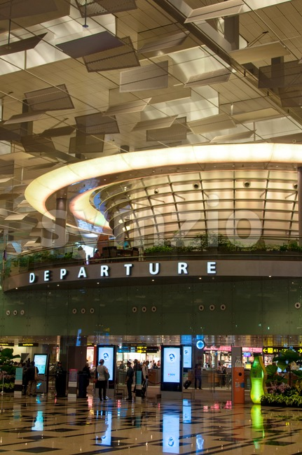 Singapore Airport - Terminal Three Departure Hall Stock Photo