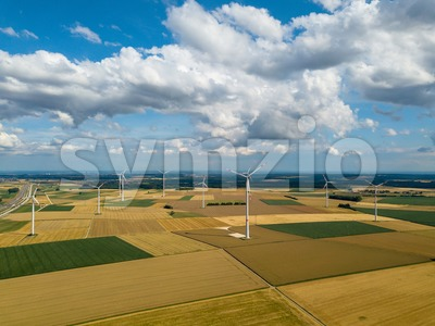 wind turbines in corn fields Stock Photo