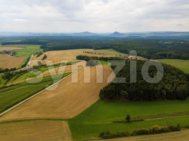 The long extinct volcanoes of the Hegau region Stock Photo