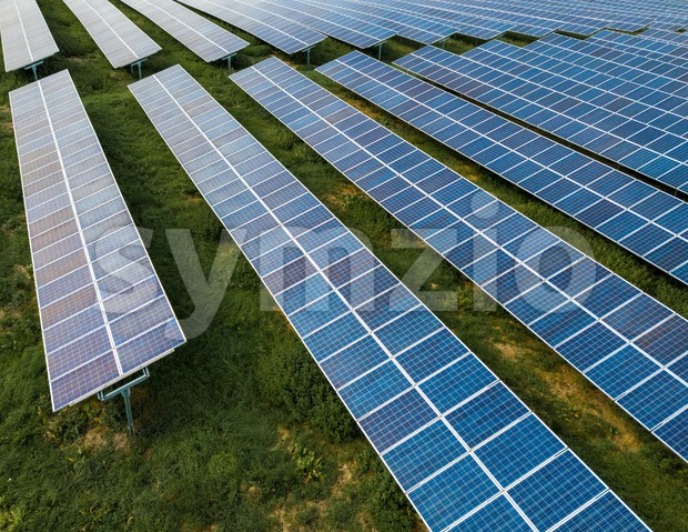 Aerial view of solar panels in solar farm Stock Photo