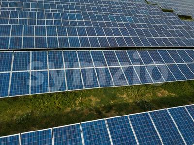Aerial view of solar panels in solar farm Stock Photo