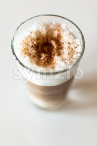Coffee Latte In A Tall Glass Stock Photo