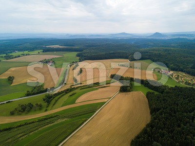 The long extinct volcanoes of the Hegau region Stock Photo