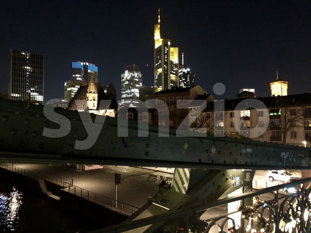 Eiserner Steg bridge in Frankfurt Stock Photo