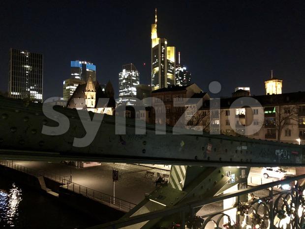 Eiserner Steg bridge in Frankfurt Stock Photo