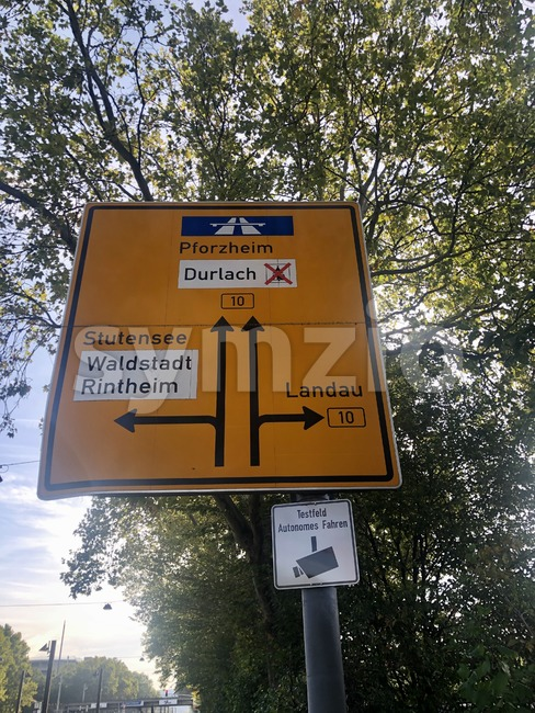 Sign in Karlsruhe outlining a testing area for autonomous driving Stock Photo