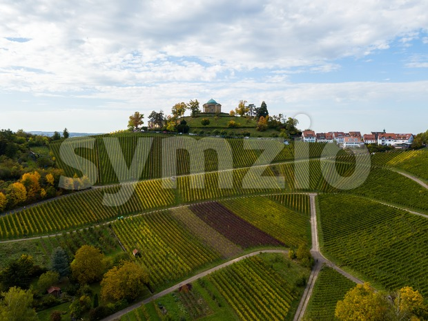 View over vineyards to the Grabkapelle (grave chapel) on Rotenberg in Stuttgart, Germany