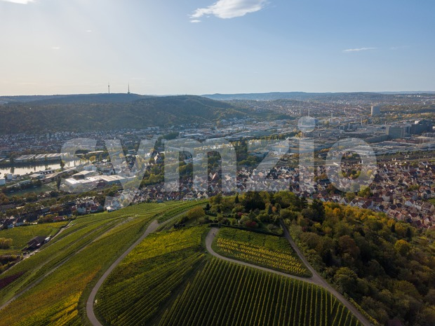 Aerial of Stuttgart suburbs Rotenberg and Untertuerkheim Stock Photo