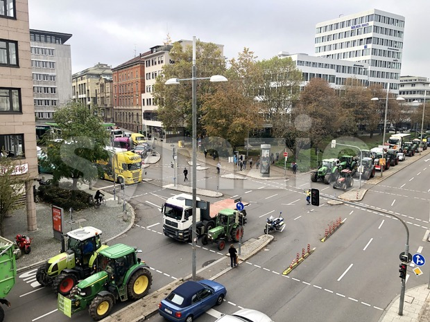 Farmers demonstrating with their tractors against the German and EU agricultural policy Stock Photo