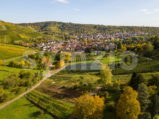 Uhlbach, a suburb of Stuttgart amidst vineyards Stock Photo
