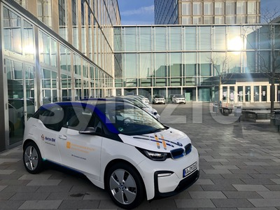 The energy company EnBW (Energie Baden Wuerttemberg) is showcasing its fleet of electric cars on their premises in Stuttgart. Stock Photo
