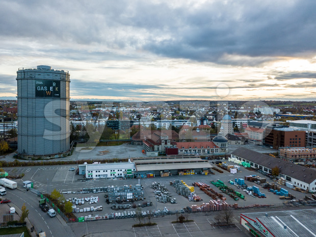 Augsburg, Germany - November 2, 2019: Gasworks with its towers (Gaskessel) and surrounding buildings in Augsburg, Germany