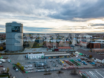 Gasworks with its towers and buildings Stock Photo