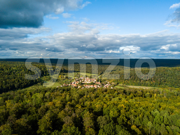 Aerial view of the ancient Monastery Bebenhausen, a place of interest close to the city Tuebingen in Germany, during a ...