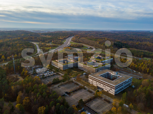 Aerial view over the famous Euermann Campus in Stuttgart over the highway A8 towards Leonberg. The Eiermann Campus was planned by famous Bauhaus Stock Photo