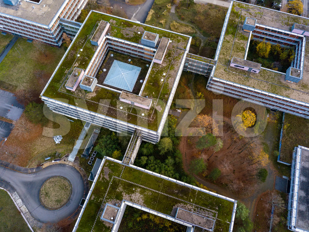 Aerial detail view of the famous Eiermann Campus in Stuttgart that was planned by famous Bauhaus architect Egon Eiermann from ...
