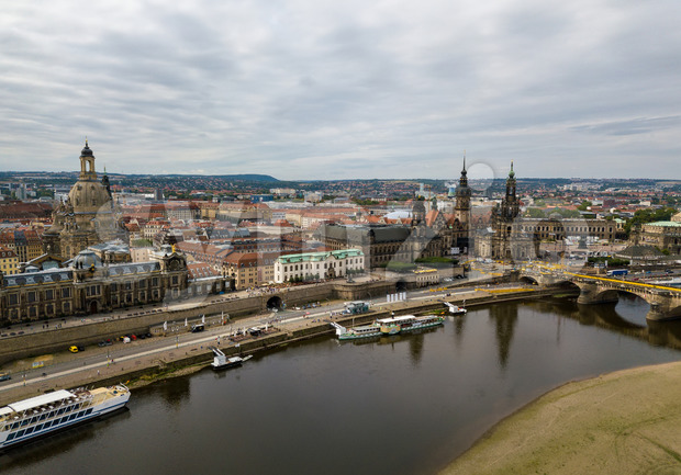 Amazing Dresden aerial view along river Elbe with all the main sights such as the Frauenkirche (church of our lady), ...