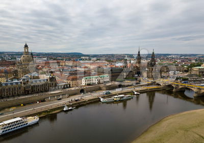 Amazing Dresden aerial view along river Elbe Stock Photo