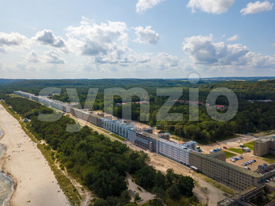 Aerial view on Prora, a massive project known as Colossus of Prora built by the Nazi-Regime that is currently reconstructed to host new flats and a Stock Photo