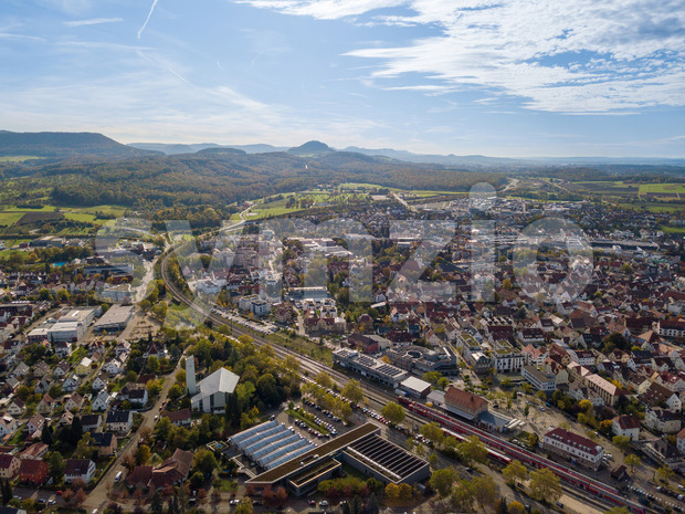 View on Metzingen in southern Germany - the city is known for its huge factory outlet with well known German brands and is located beautifully towards Stock Photo
