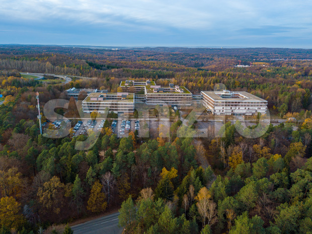 Aerial view over the famous Euermann Campus in Stuttgart over the highway A8 towards Leonberg. The Eiermann Campus was planned ...