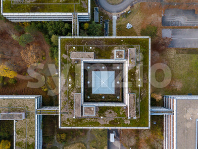 Aerial detail view of the famous Eiermann Campus in Stuttgart that was planned by famous Bauhaus architect Egon Eiermann from 1965 on and was used as Stock Photo