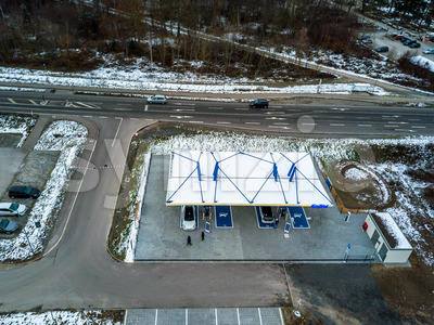 Aerial photo of the newly opened electric vehicle charging station operated by EnBW in Rutesheim near Stuttgart at the highway A8. Stock Photo