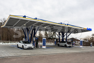 The newly opened electric vehicle charging station operated by EnBW in Rutesheim near Stuttgart at the highway A8. Stock Photo