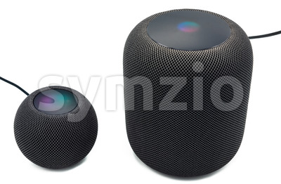 The new black Apple Homepod Mini is standing next to a black Apple Homepod smart speaker on a clear white background. Stock Photo
