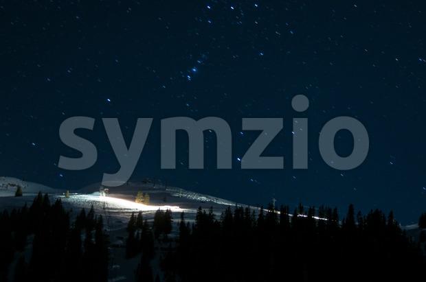 Night panorama of Montafon, Austria Stock Photo